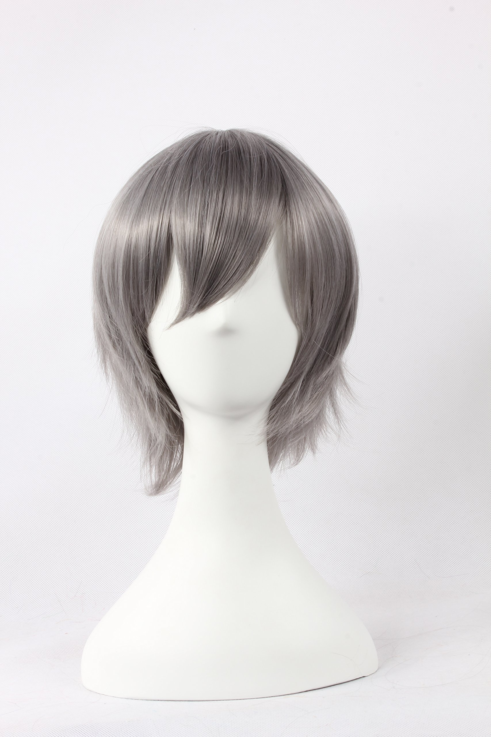 Coolsky Wigs Neon Genesis Evangelion,Light Katekyo Hitman Reborn,Jigoku Shoujo Mix Gray Hair Cosplay
