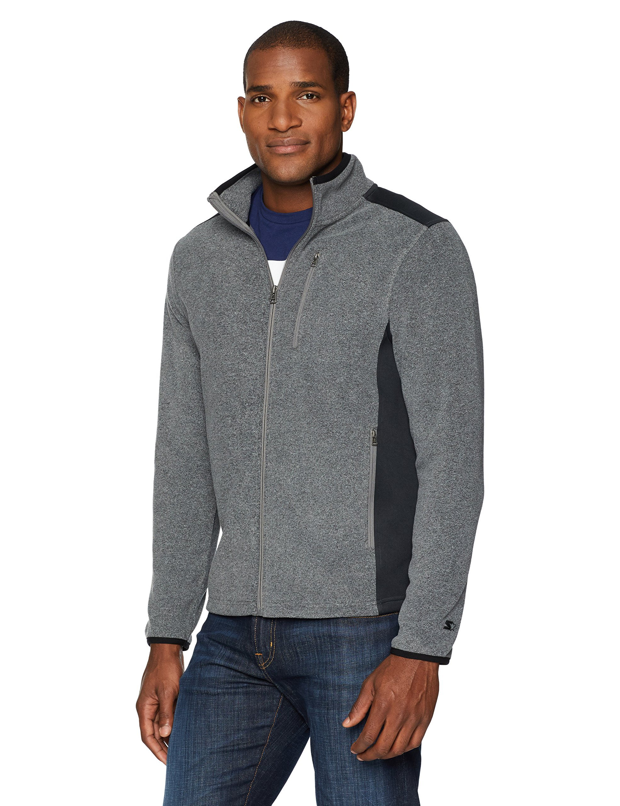 Starter Men's Polar Fleece Jacket, Prime Exclusive, Vapor Grey Heather, Extra Large by Starter