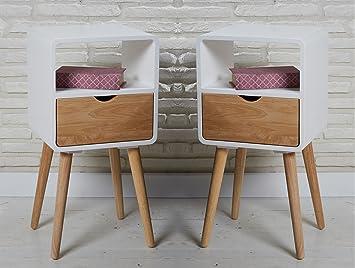 2 Designer Retro Beistelltische Nachtschranke Nachttische Holz Weiss