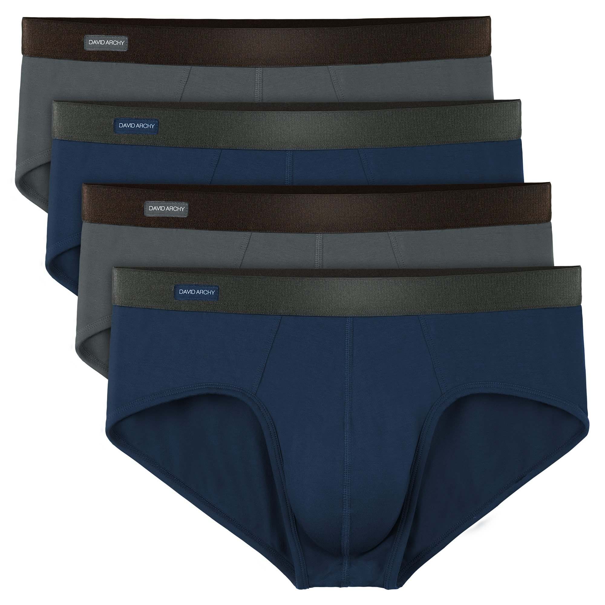 David Archy Men's 4 Pack Bamboo Rayon Ultra Soft Breathable Pouch Briefs No Fly (L, Navy Blue/Dark Gray-No Fly)