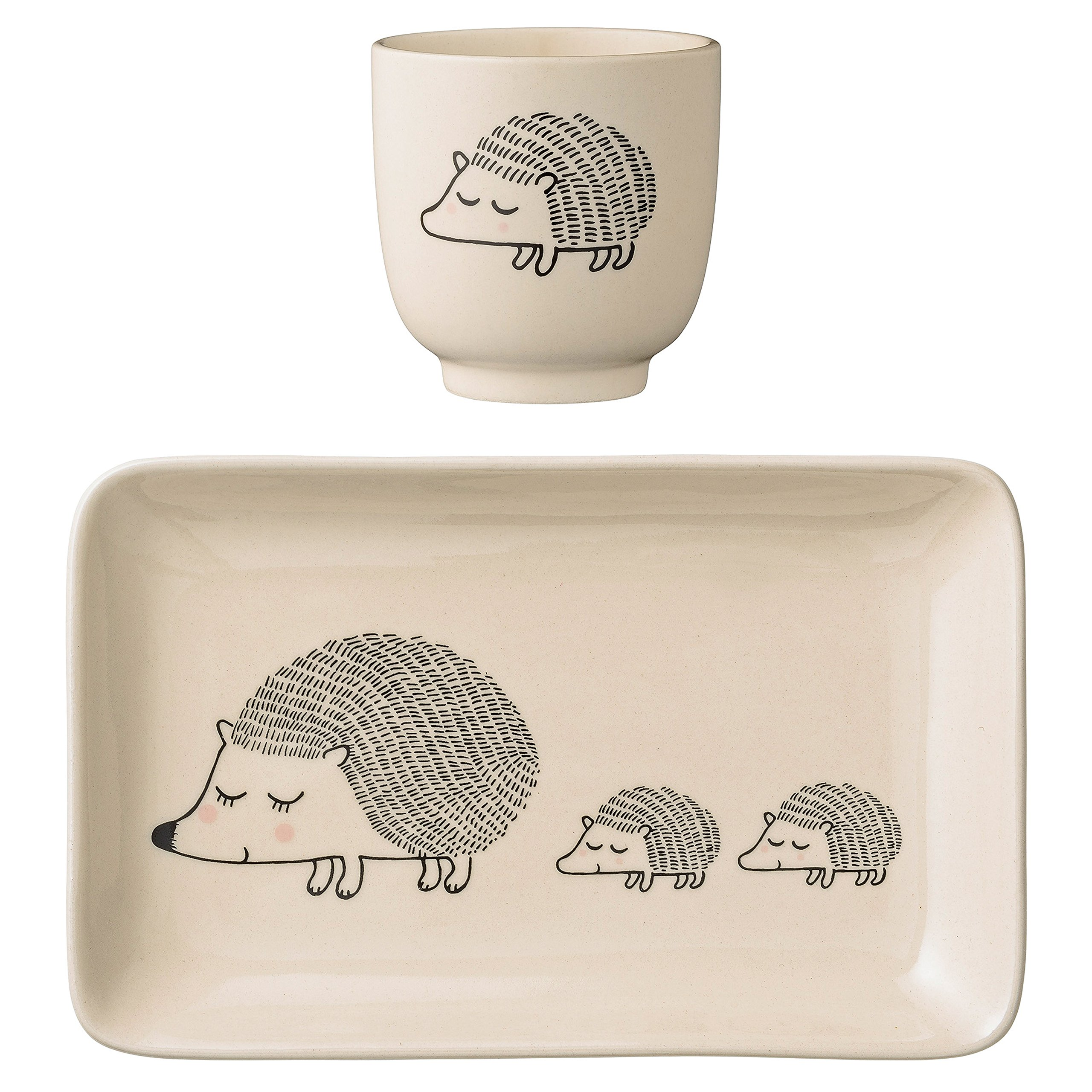 Bloomingville A21100637 Ceramic Hedgehog Plate and Cup Set, Multicolor