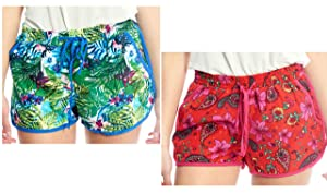 Womens Casual Summer Beach Contrast-Trim Shorts with Pattern and Drawstring (2-Pack, Small)