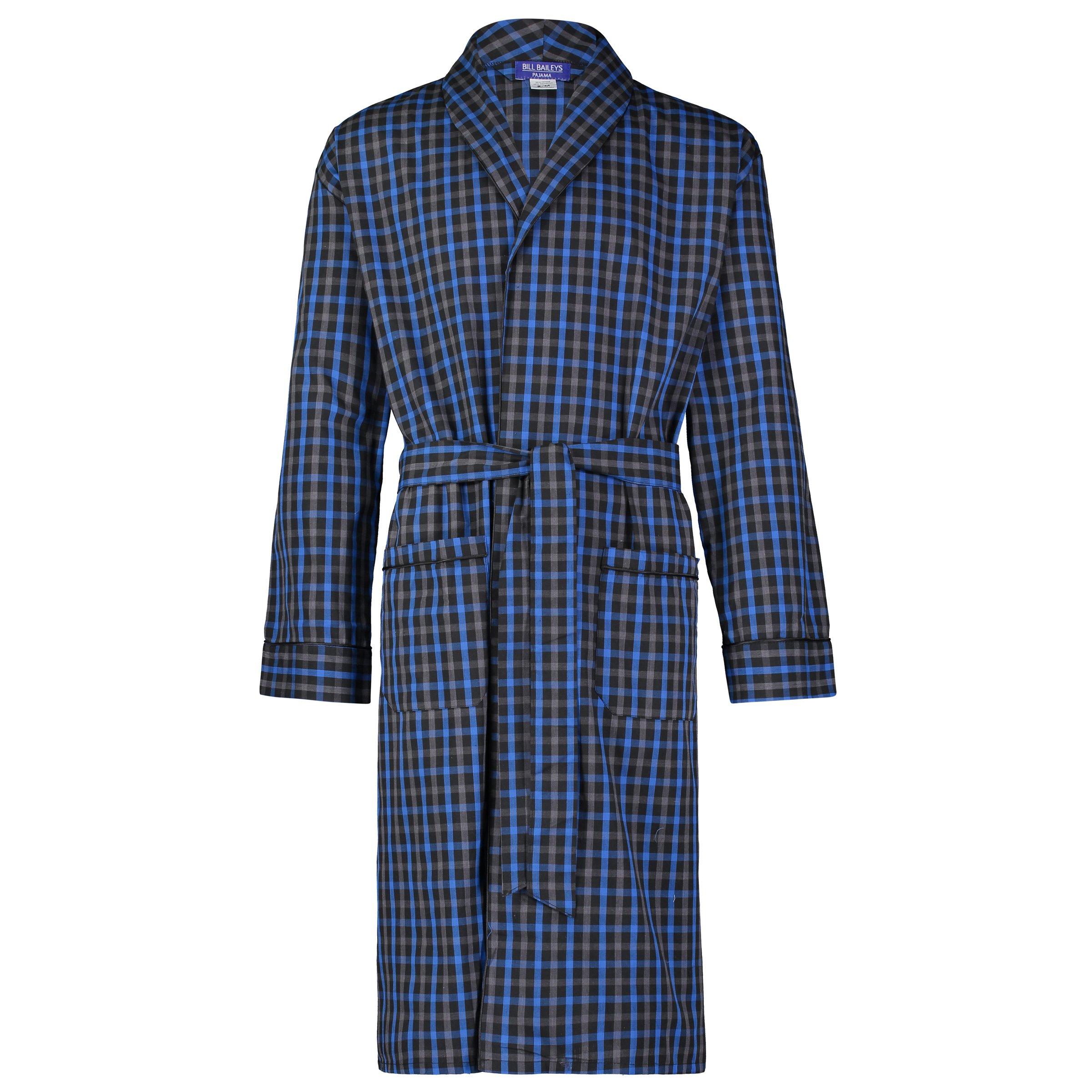 Bill Baileys Men's Long Sleeve Premium Cotton Blend Woven Robe Lightweight Sleep & Morning Robe (Large/X-Large, Black-Blue)