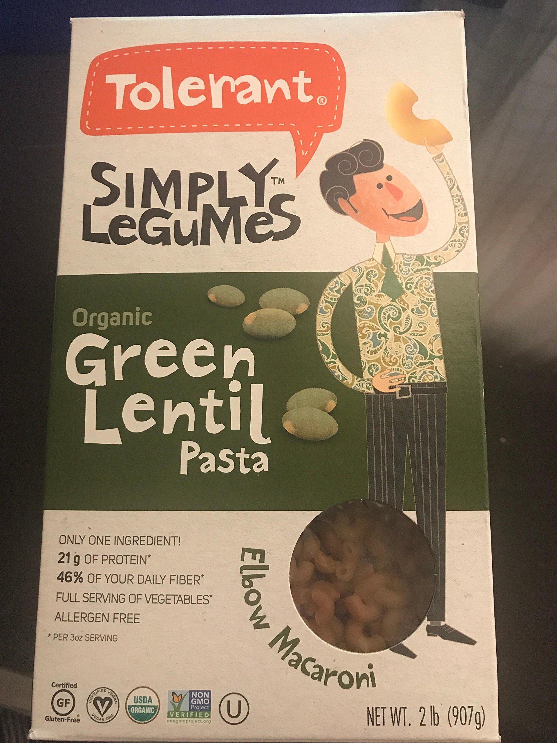 Tolerant simply legumes organic green lentil pasta 2 lb. ( 907g) by Tolerant simply legumes