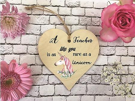 Wooden Hanging Heart Decoration - Teacher Rare As A Unicorn DD381 ...