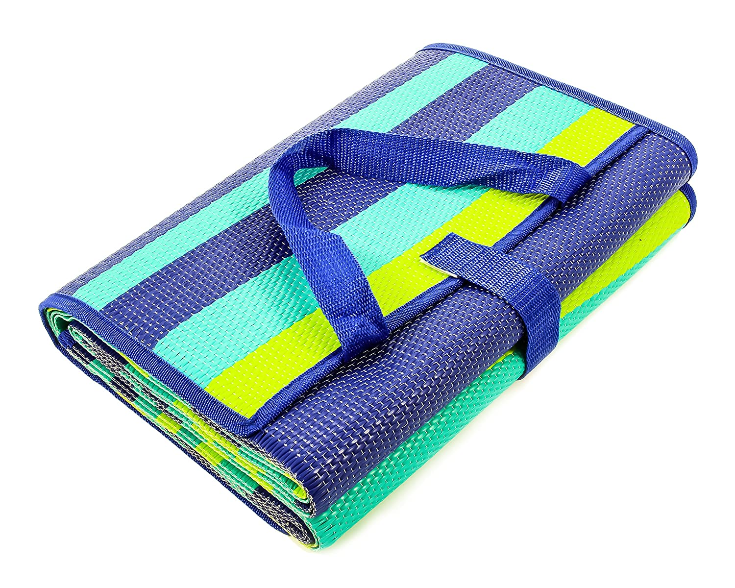Perfect for Picnics 53266 Weatherproof and Mold and Mildew Resistant 60x 78 Beaches RV and Outings Camco Blue and White 60 x 78 Life is Better at The Campsite Handy Mat with Strap