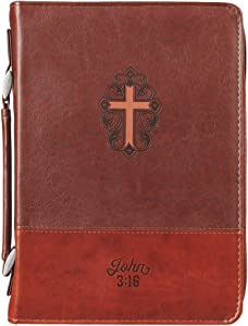 Christian Art Gifts Brown Faux Leather Classic Bible Cover | John 3:16 with Cross Design | Medium Bible Case Book Cover for Men/Women