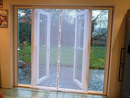 Delightful Flyscreen Queen Door Magnetic Patio Door Premium Quality White 120cm Wide X  215cm High