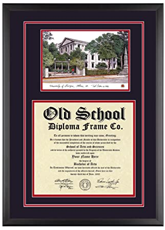 university of georgia diploma frame with artwork in classic black frame