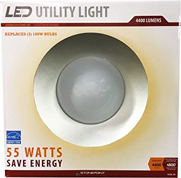 Stonepoint Led Lighting Utility Light Energy Efficient Bright Daylight Bulb With Shroud Fits Standard Edison Base 4000k And 4400 Lumens For Shop