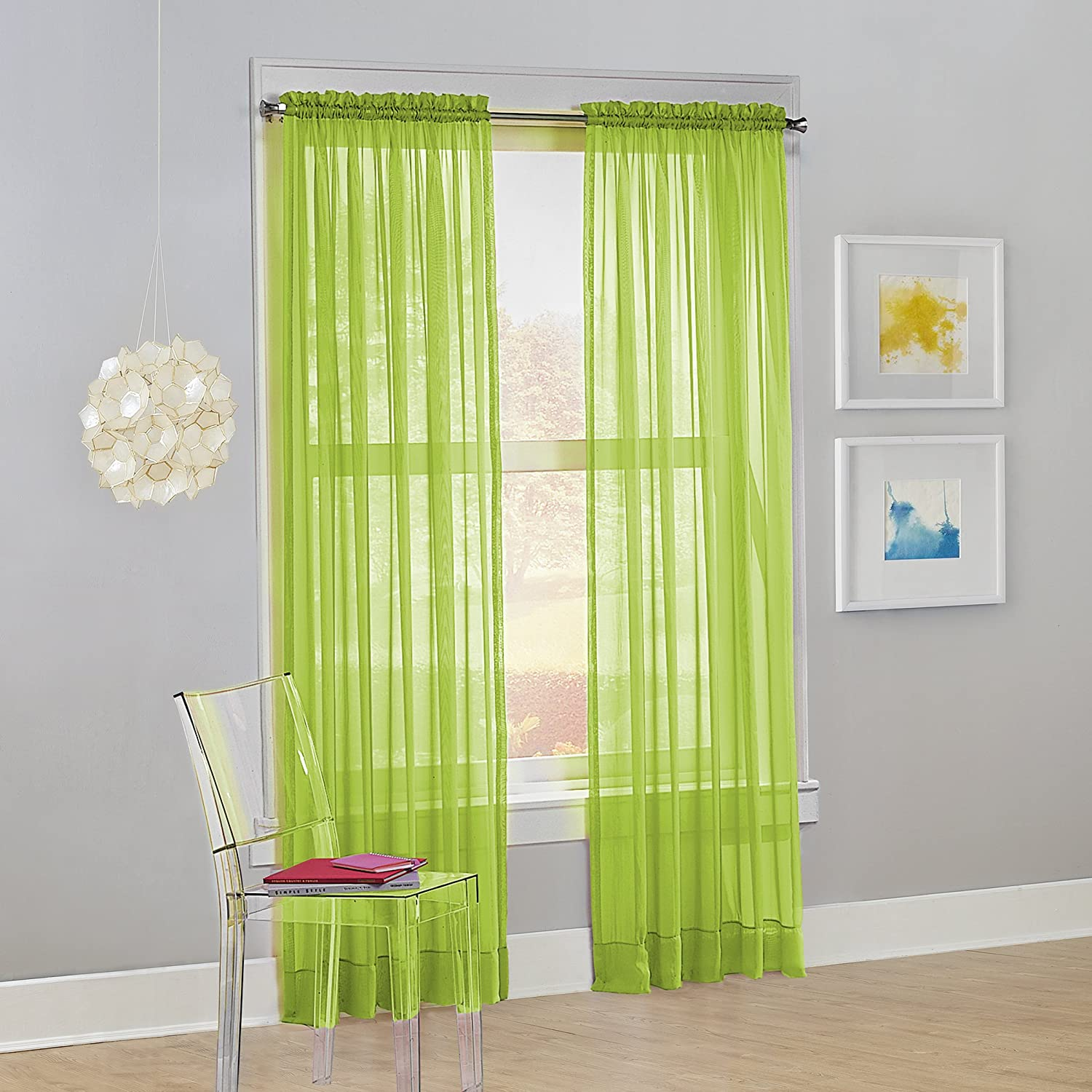 "No. 918 Calypso Sheer Voile Rod Pocket Curtain Panel, 59"" x 84"", Lime Green, 1 Panel"