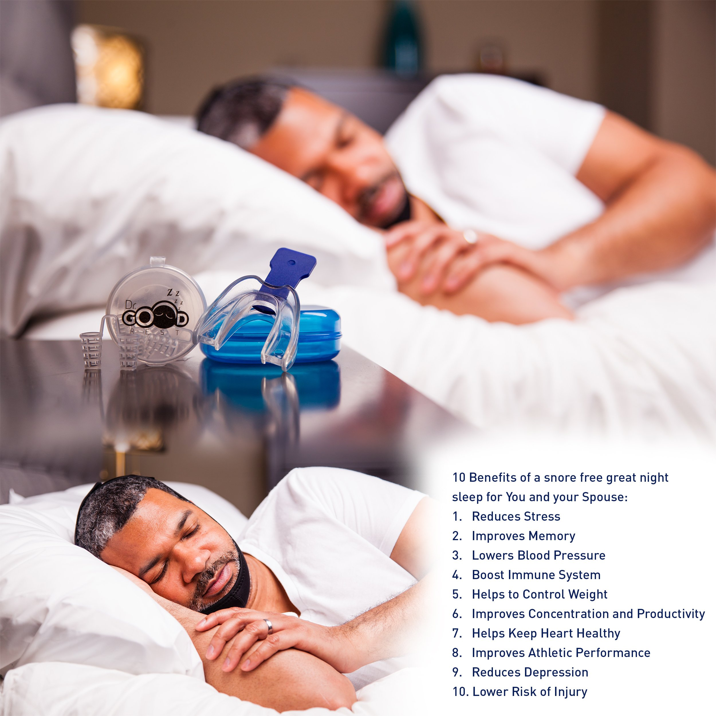 Anti Snoring Devices Kit with Chin Strap, Mouthpiece and Nose Vents for Peaceful Restorative Sleep (3 Pieces)