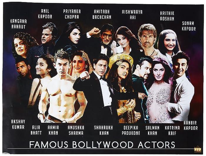"777 Tri-Seven Entertainment Famous Bollywood Actors Poster Hindi Movie Indian Actress Art Print, 24"" x 18"""