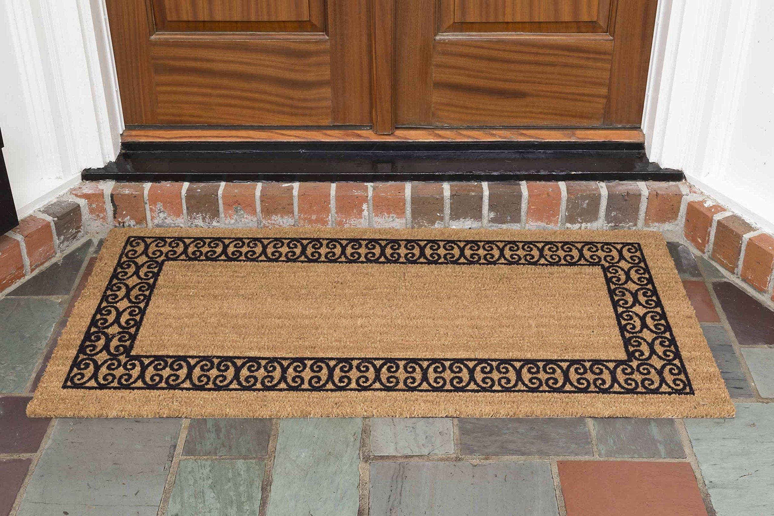 DeCoir 24'' X 48'' 'Charleston Border' Coir Double Door Mat, Medium/large