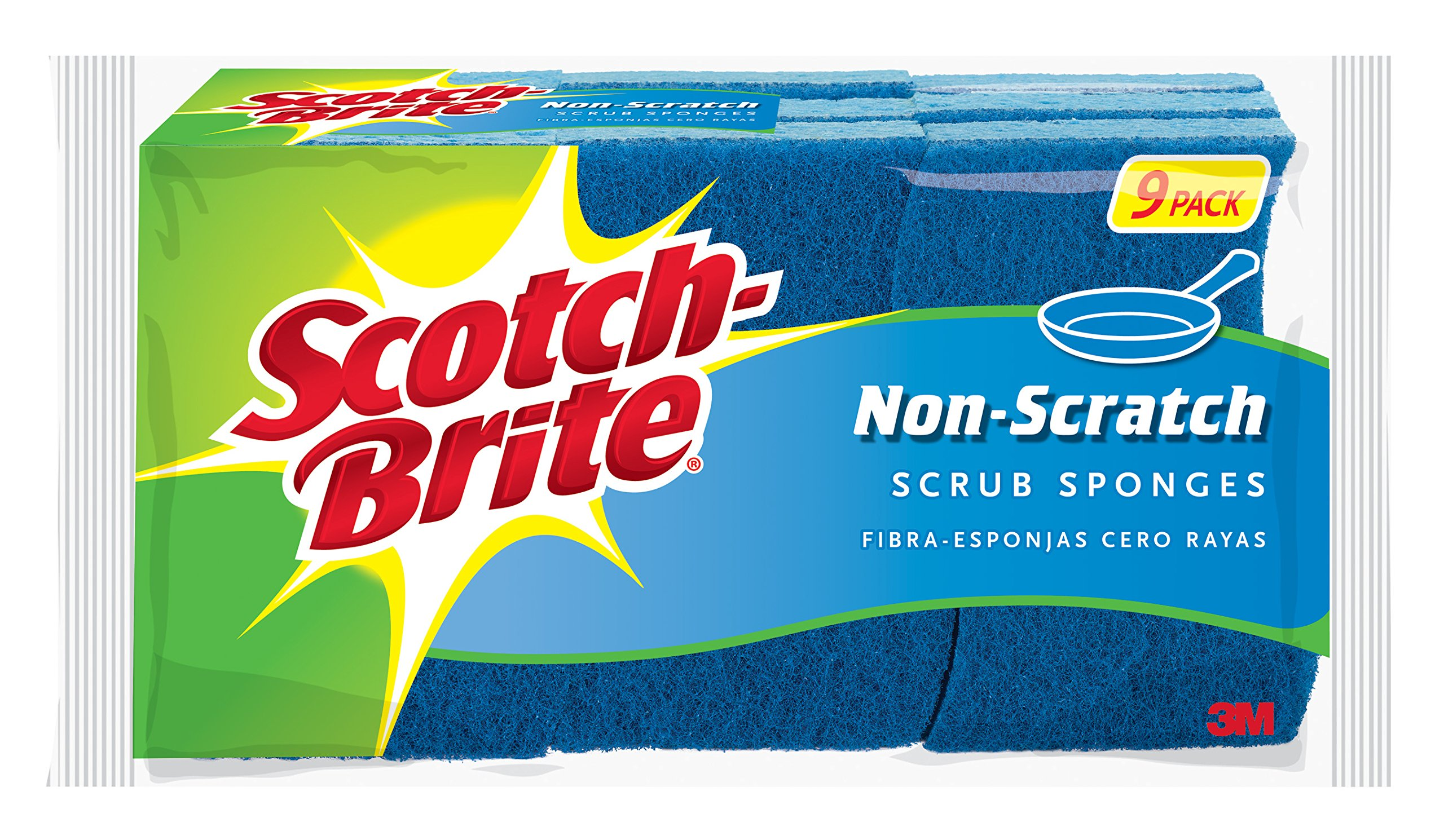 Scotch-Brite Non-Scratch Scrub Sponge, Clean Tough Messes Without Scratching - 9 Sponges Total