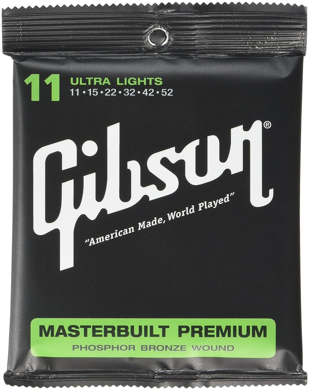 Gibson Gear Masterbuilt Premium Phosphor Bronze Acoustic Guitar Strings, Super Ultra Light (10-47) SAG-MB10