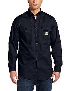 24730fbda5bf Amazon.com  Carhartt Flame-Resistant Twill Shirt with Pocket Flaps ...