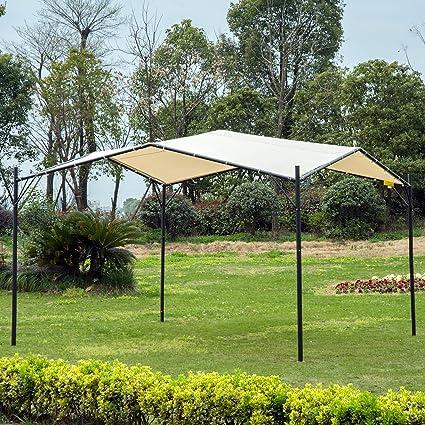 Outsunny Pérgola para Jardín Cenador Patio Terraza Gazebo Metal 3x3m Toldo Desigual Pabellón con Marco Acero Tela Poliéster Color Crema: Amazon.es: Jardín