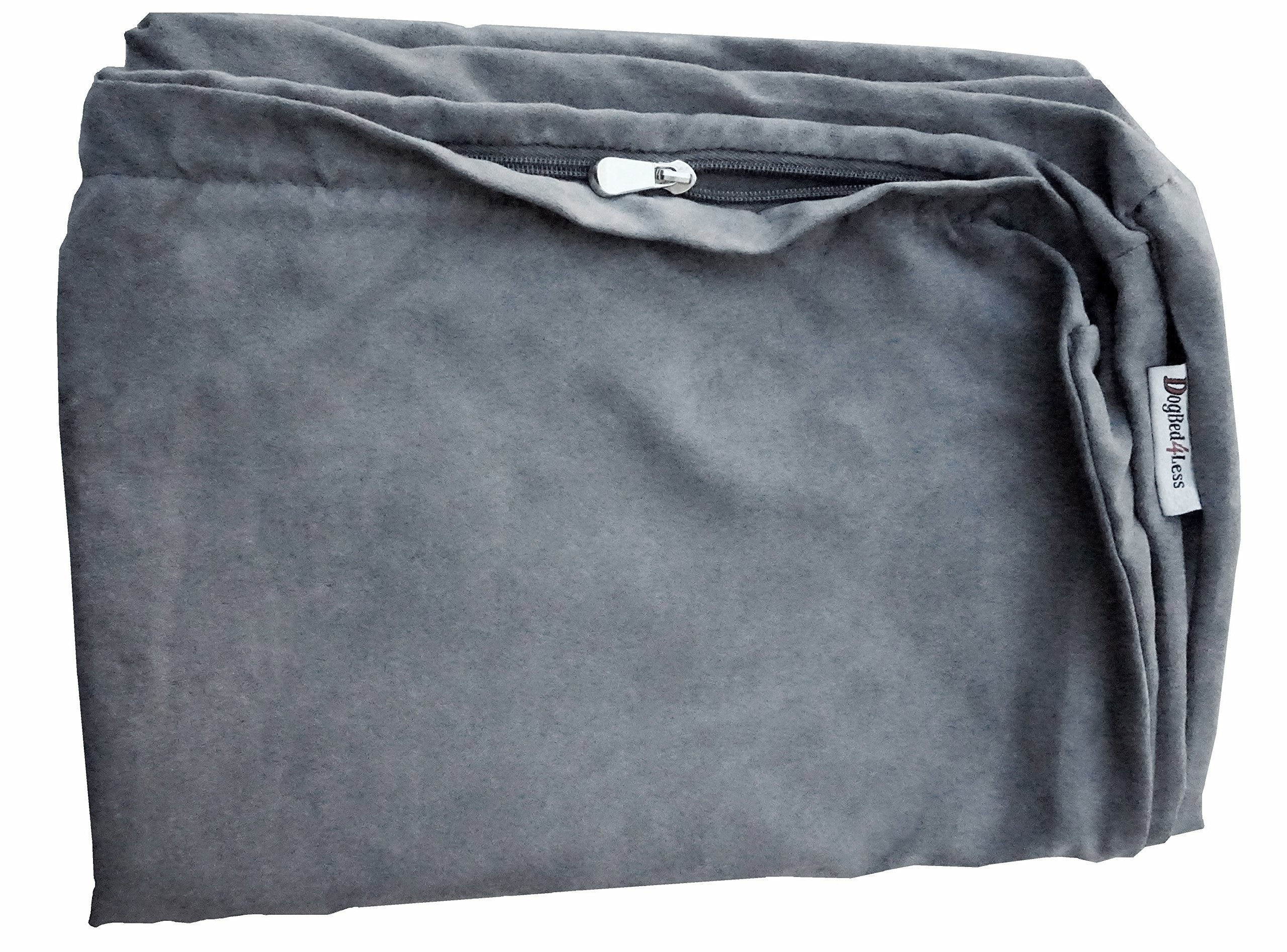 Dogbed4less 40X35X4 Inches XL Size : Suede fabric External Replacement Cover in Grey Color with zipper liner for Dog Pet Bed Pillow or pad - Replacement cover only