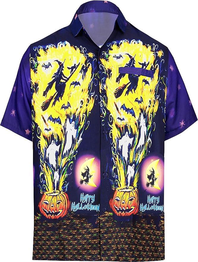 HAPPY BAY Botón de los Hombres abaño Bolsillo de Manga Corta Camisa de la Playa Disfraz de Vintage Piratas Calabaza Cráneo Cosplay Disfraces De Fiesta De Halloween Ghost Pumpkin Camisa para Hombres:
