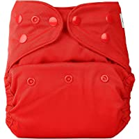 Bumberry Reusable Diaper Cover and 1 Natural Bamboo Cotton Insert (Deep Red)