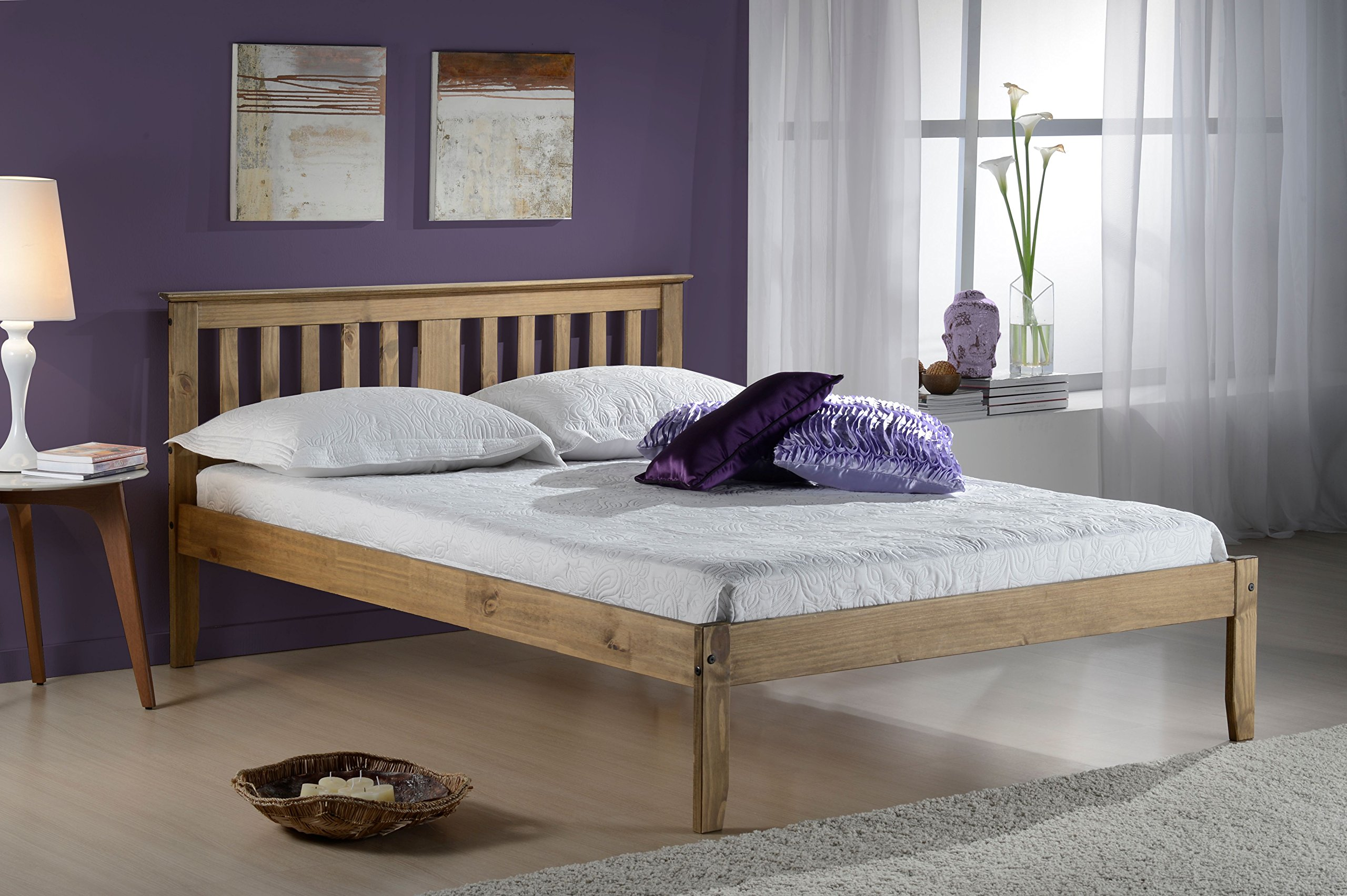 Oak Panana Classic Simple White Single Bed Frame 3FT Bedstead Solid Wood Children Kids Bedroom