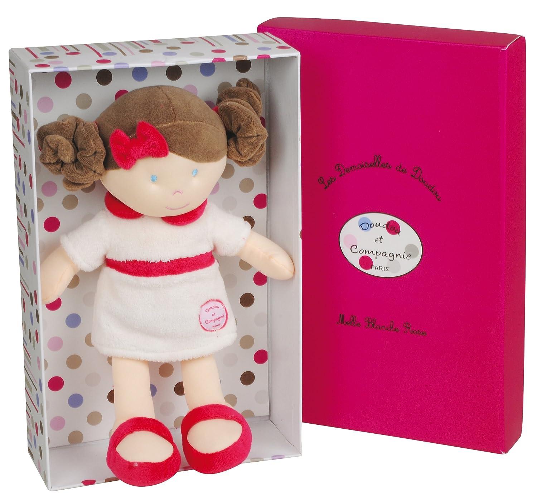 Doudou et Compagnie DC2308 Les Demoiselles de Doudou Puppe und Mini-Puppe Mademoiselle - Weiß - Rosa