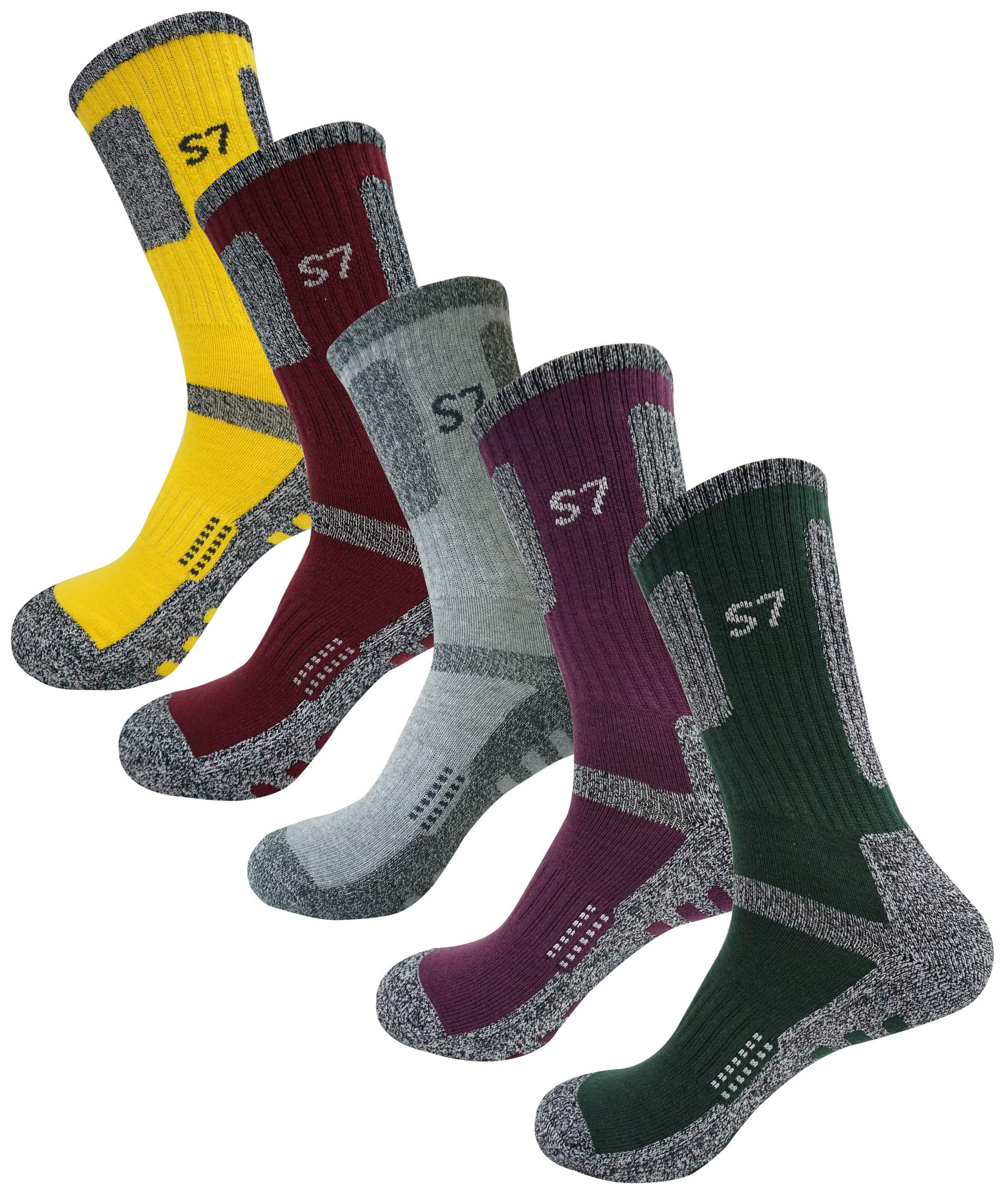 SEOULSTORY7 5Pack Men's Climbing DryCool Cushion Hiking/Performance Crew Socks Yellow/Burgundy/Light Gray/Purple/Green L3 by SEOULSTORY7