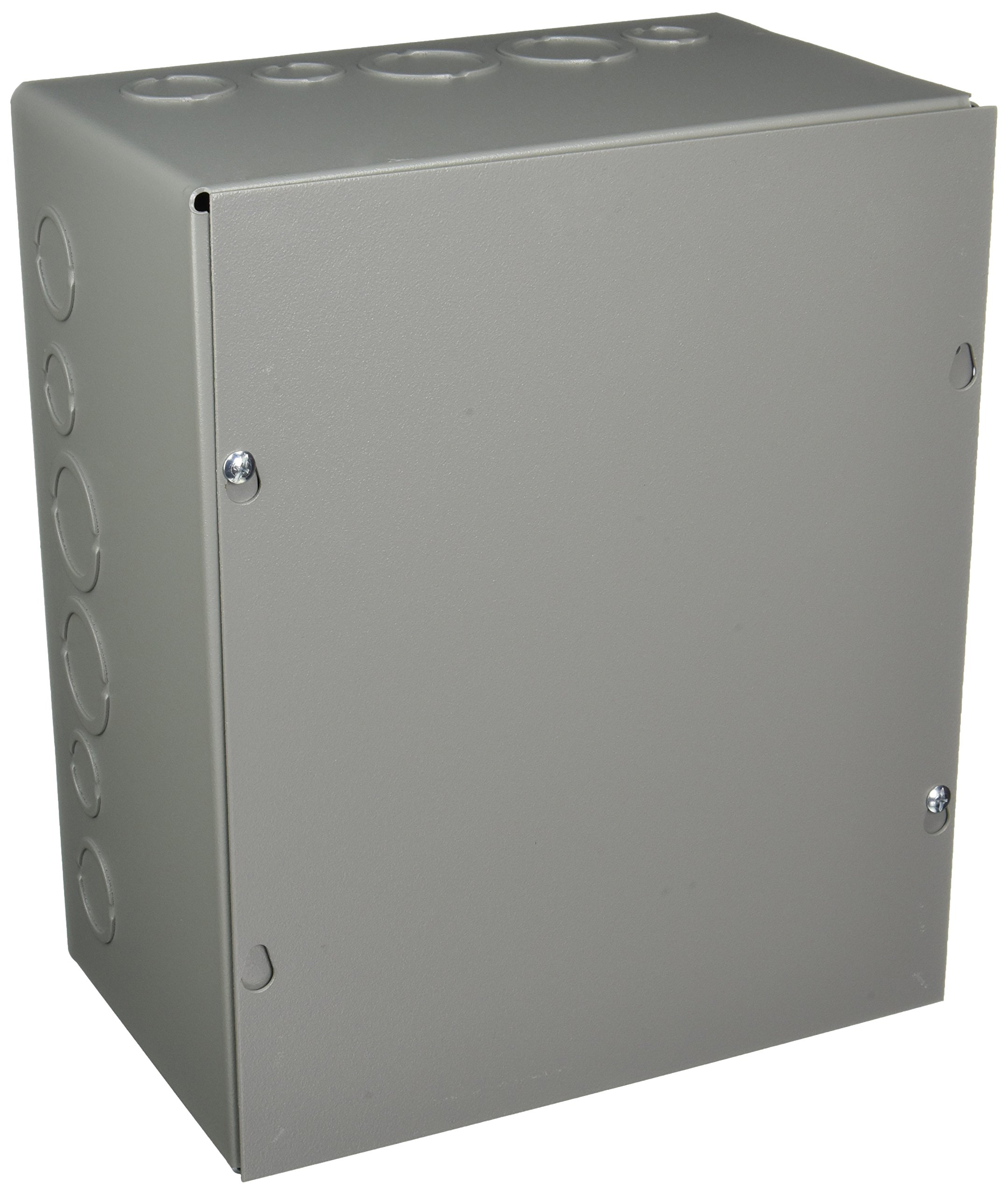 Wiegmann SC101206 SC-Series NEMA 1 Screw Cover Wallmount Pull Box with Knockouts, Painted Steel, 12'' x 10'' x 6''