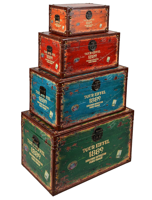 Great Tsideen Er Set Reisekoffer Tour Eiffel Als Kommode Truhe Box  Holztruhen Antik Shabby Vintage Holzkiste Amazonde Kche ...