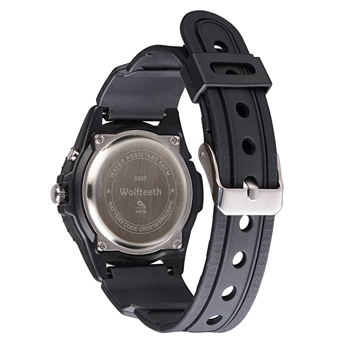 56092b5064e0 Wolfteeth Analog Quartz Boys Reloj De Pulsera con Segunda Mano Luminosa  Retroiluminación Dial Blanco Resistente Al Agua Moda Reloj Negro 305201   Amazon.es  ...