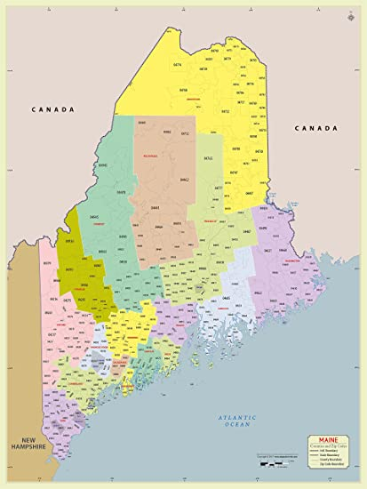 Amazon.com : Maine County with Zip Code Map (36