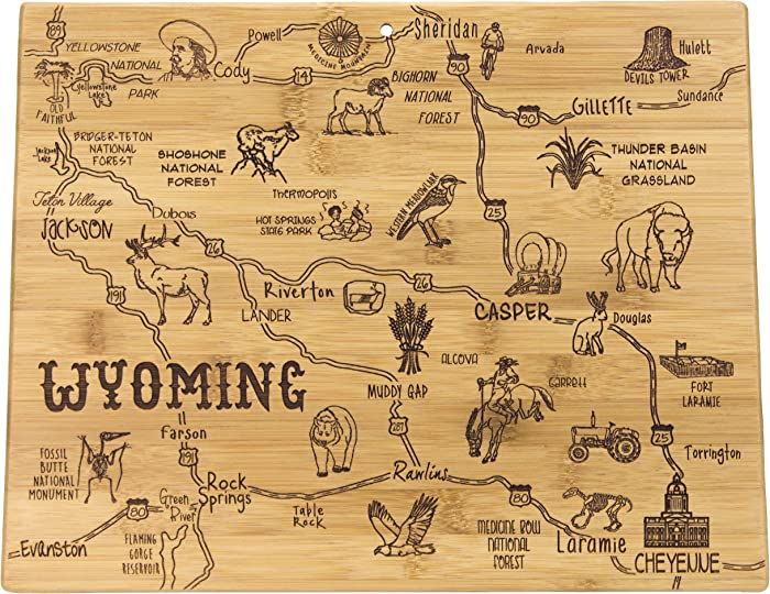 """Totally Bamboo Destination Series Wyoming State Shaped Serving and Cutting Board, Bamboo, 14.25"""" x 11"""""""