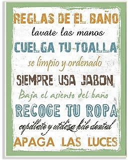 Stupell Home Décor Reglas De El Bano Multicolor Wall Plaque Art, 10 x 0.5 x