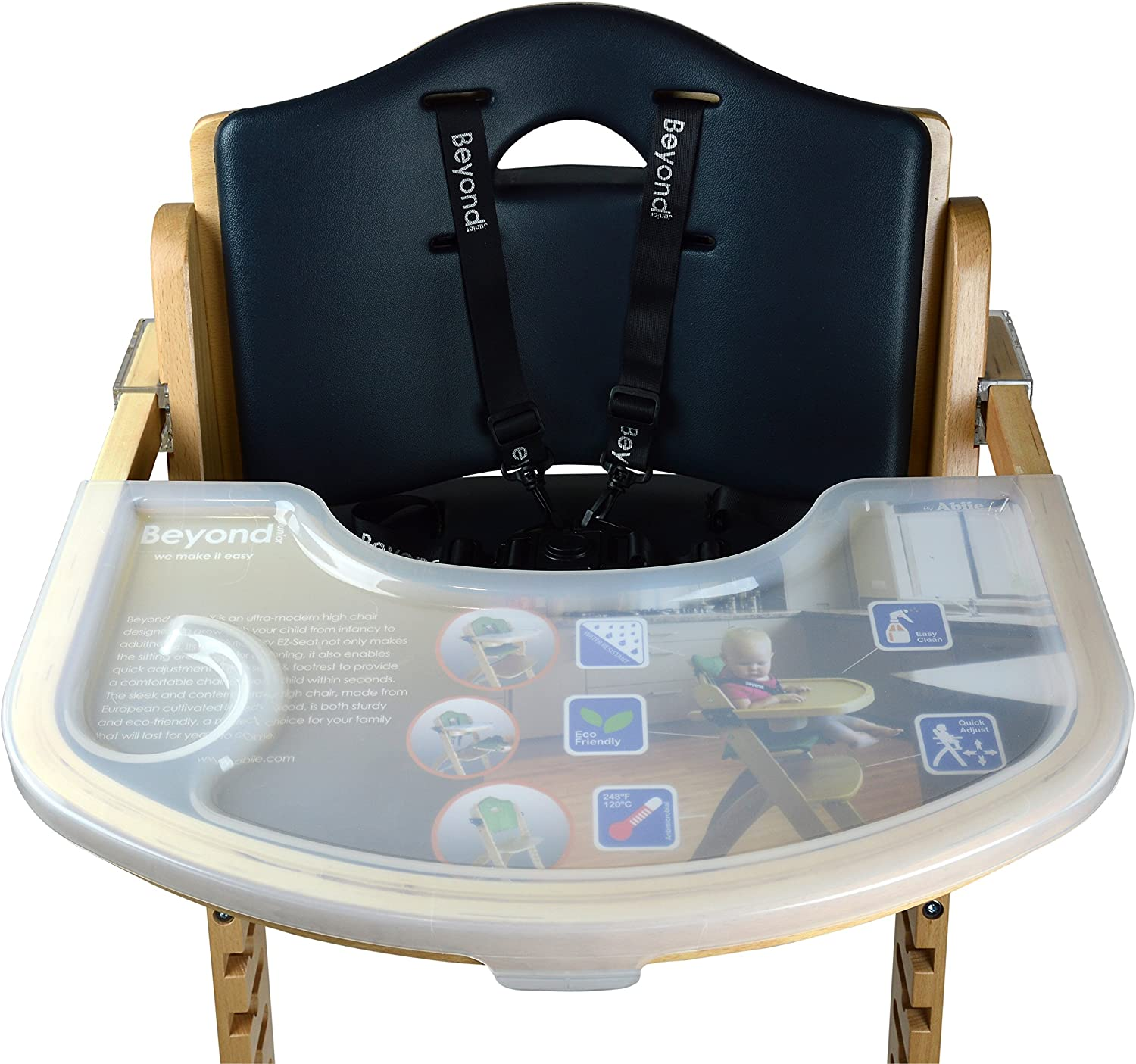 6 Months /& up Abiie Beyond Wooden High Chair with Tray.The Perfect Seating Highchair Solution for Your Child As Toddlers or a Dining Chair Natural - Black Cushion
