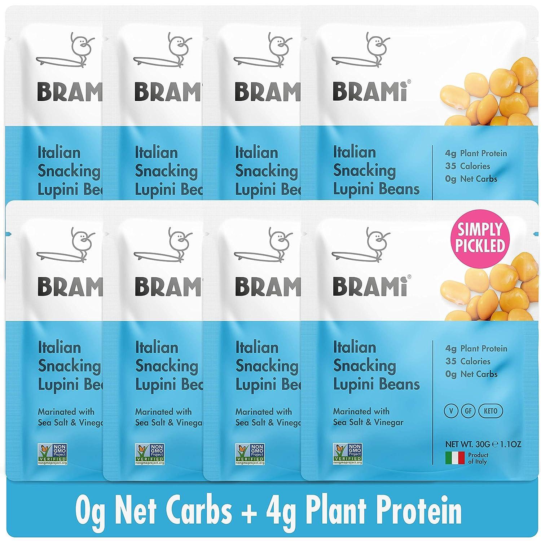 BRAMI Lupini Beans Snack, Mini | 4g Plant Protein, 0g Net Carbs | Vegan, Vegetarian, Keto, Plant Based, Mediterranean Diet, Non Perishable | 1.06 Ounce (8 Count) (Sea Salt & Vinegar)