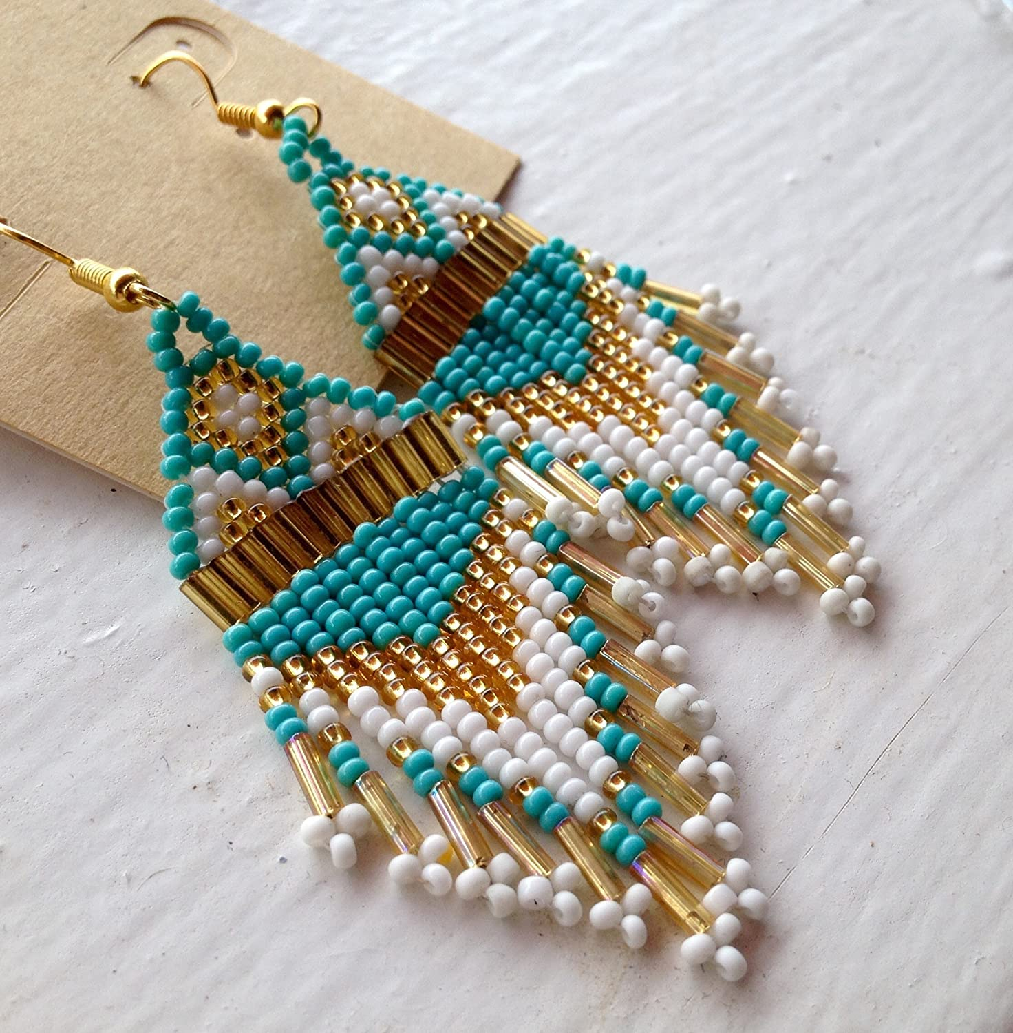 Turquoise & Gold Native American Inspired Beaded Earrings