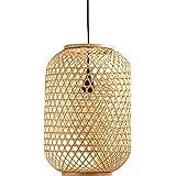 Amazon Brand – Stone & Beam Modern Barrel Woven Ceiling Pendant Chandelier Fixture with Light Bulb - 10 x 10 x 16.25…