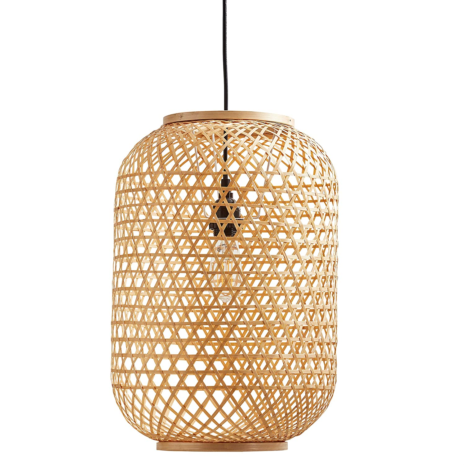 huge selection of 43ff4 14306 Stone & Beam Modern Barrel Woven Ceiling Pendant Chandelier Fixture with  Light Bulb - 10 x 10 x 16.25 Inches, 43.5 Inch Cord, Natural Rattan Shade