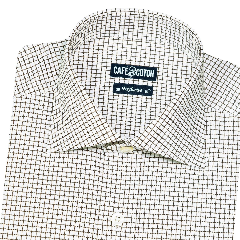 Cafe Coton Mens 80 Threacount Regular-Fit Spread Collar Barrel Cuff Egyptian Cotton Shirt