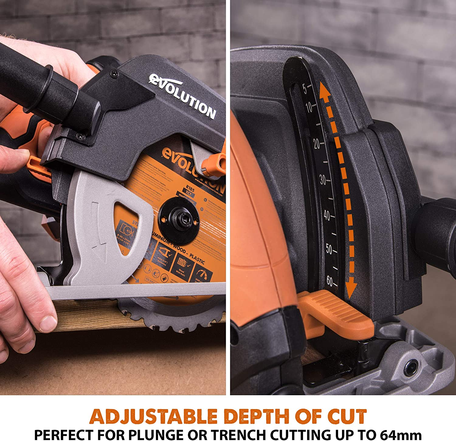 Evolution Power Tools Build R185CCS Multi-Material Circular Saw 110 V with Wood Carbide-Tipped Blade 185 mm 185 mm