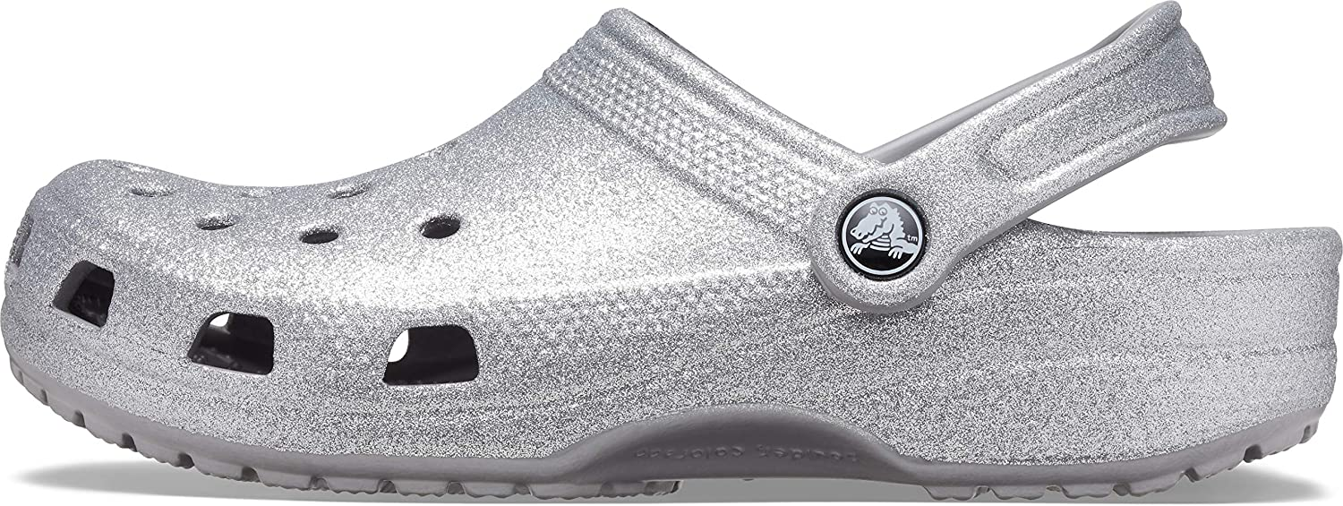 Crocs Mens and Womens Classic Sparkly Shimmer Clog Metallic and Glitter Shoes