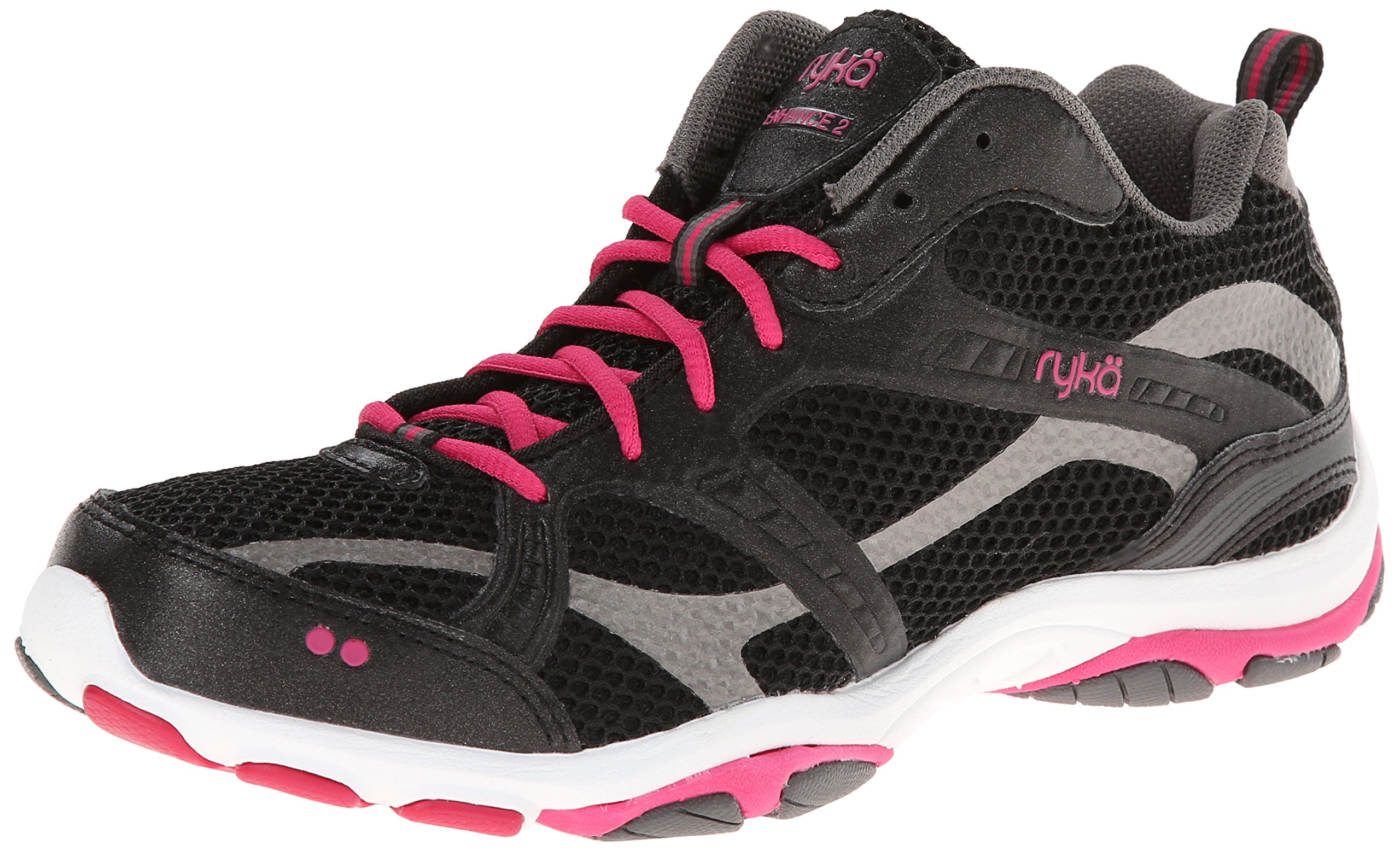 Ryka Women's Enhance 2 Cross-Training Shoe, Black/Zumba Pink/Metallic Steel Grey, 6.5 M US
