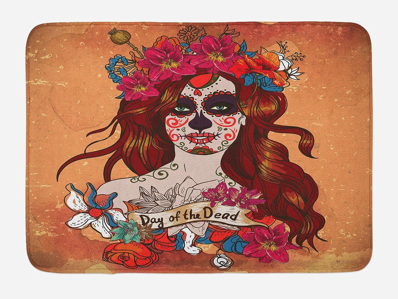 Ambesonne Day of The Dead Bath Mat, Dia de Los Muertos Spanish Culture Mexican Skull Art, Plush Bathroom Decor Mat with Non Slip Backing, 29.5