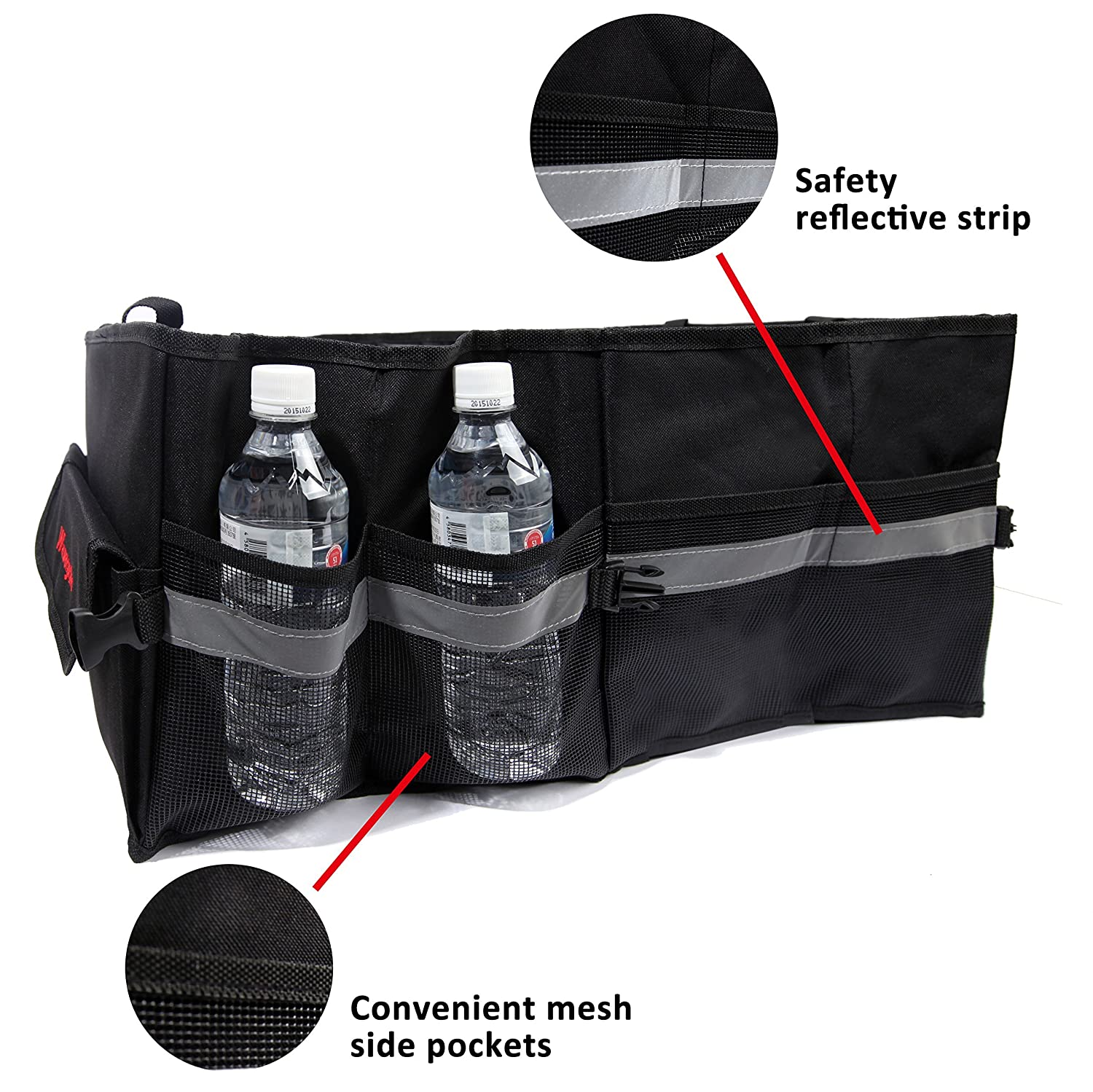 Oxford Fabric Multipurpose Auto Car SUV Organizer Folding Collapsible Best Car Organizer for all Cargo Wawacycles Premium Trunk Organizer Great for Travel Vocation Trip Camping