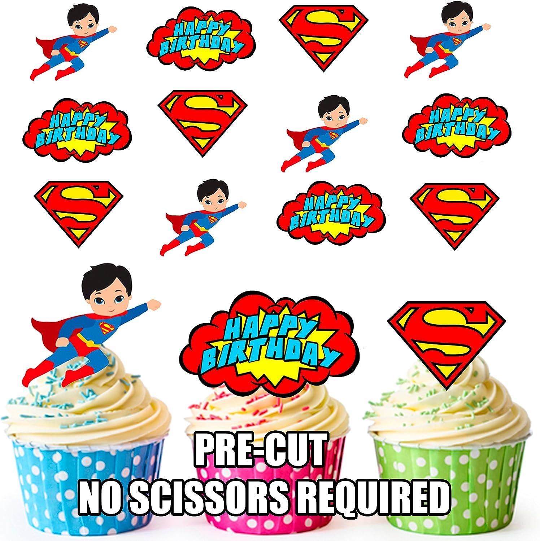 Precortado Superman Superhéroe feliz cumpleaños Pack – Decoración ...