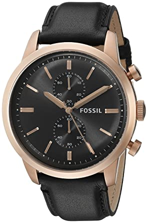 ebe2b79dc Image Unavailable. Image not available for. Color: Fossil Men's FS5097  Townsman Chronograph Rose Gold-Tone Stainless Steel Watch with Black  Leather Band