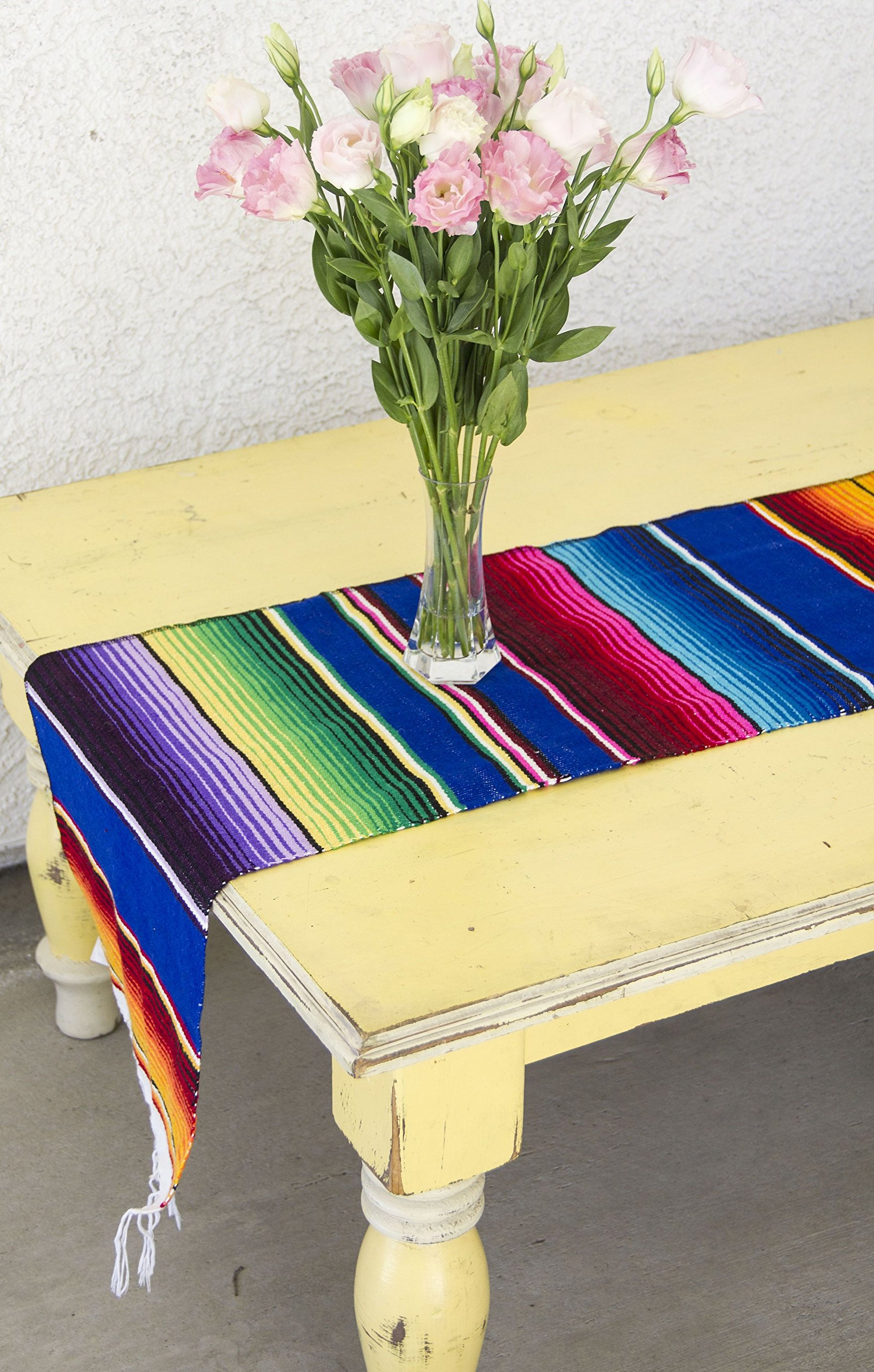 Del Mex (TM) Mexican Serape Blanket Table Runner (Blue)