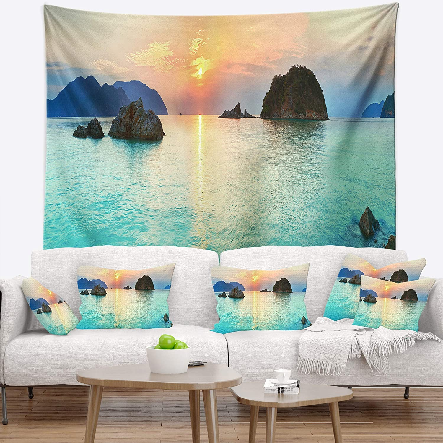 x 50 in Designart TAP6413-60-50  Sunrise Panorama Photography Blanket D/écor Art for Home and Office Wall Tapestry Large Created On Lightweight Polyester Fabric 60 in