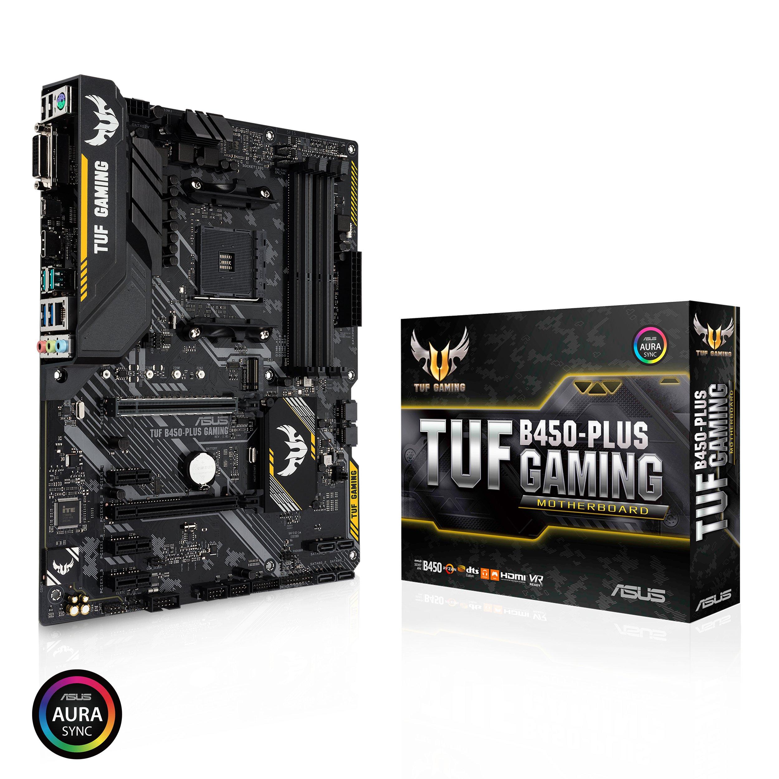 ASUS TUF B450-Plus Gaming Motherboard (ATX) AMD Ryzen 2 AM4 DDR4 HDMI DVI M.2